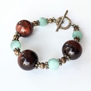 Jewelry - Red Tiger's Eye And Amazonite Stone Bracelet